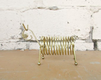 Vintage Letter Holder, Gold Tone Metal Bug Dog Critter with Coiled Body, Retro Office Accessory, Desk Accessory, Office Decor