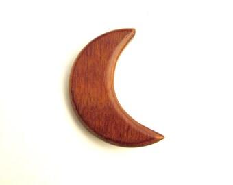 Laminated Wood Crescent Moon Brooch - Mid Century Folk Art Pin
