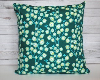 Decorative Pillow Cover accent pillow throw pillow toss pillow pine green. 1 cover for 20x20 pillow insert. Jewel Tone Green Floral Holiday.