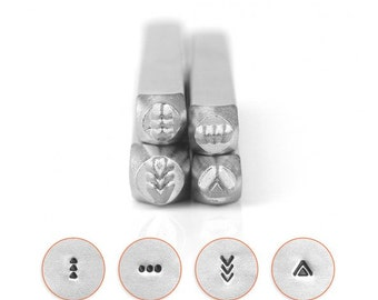 Set of 4 MANDALA PACK 4 Design Stamps, ImpressArt Metal Design Stamps, 4-pack, 3mm, Mandala Shapes, tol0728