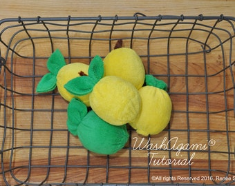 Washcloth Lemons and Limes, Baby Washcloth Lemon , WashAgami® , Instructional Video