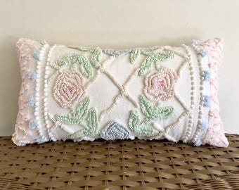SUGARED ROSES 10 x 18 shabby lumbar pillow cover, cottage chic cushion, pale pink pillow sham, pale blue vintage chenille cushion cover