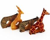 Vintage Hand-Carved WOODEN SAFARI ANIMAL Napkin Holders - Set of 4: An Antelope,  2 Zebra and a Giraffe / African Safari Theme /