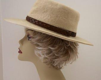 Vintage Stetson Gun Club Khaki Tan Wool Felt Fedora 6 7/8 Unisex Hat