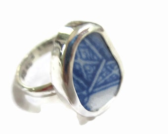 Broken China Jewelry, Sterling Silver, Abstract Blue, Any Size, OOAK,  Chaney, Repurposed. Recycled, Broken Plate Shard ring