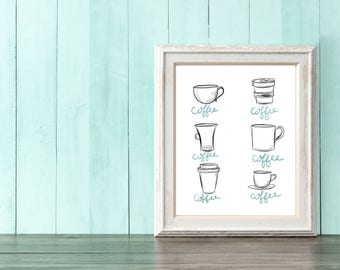 Coffee Coffee Illustration Art Print
