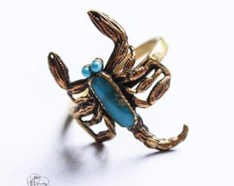 Scorpion Ring Vintage 70s Brass and Turquoise Enamel Small US 6 UK L Scorpio Rising.