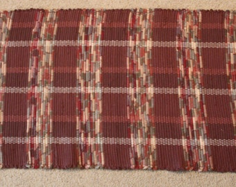Handwoven Rag Rug - Chocolate Brown with variegated earthtones - 49 inches....(#166, #166A)
