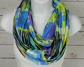 Graphic Strokes Infinity Scarf Lemon Yellow Lime Green Azure Blue with Black and White Handmade Double Loop Scarf by Thimbledoodle