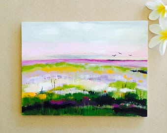 Australian landscape, small painting, Abstract art, marshland, Acrylic on wood, original art