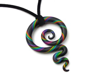 Meaningful Necklace KORU RAINBOW New Zealand Maori Symbol Spiral Jewelry Black Colorful Fimo Polymer Clay Pendant Vegan Leather Lucky Charm
