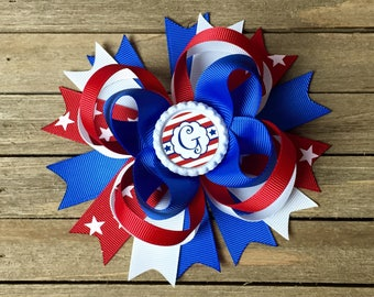 4th of July , patriotic hair bow , 4th of July hair bow , red white and blue hair bow , Fourth of July hair bow , monogrammed hair bow