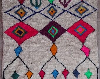 "160X150 cm 5'2"" x 4'11""         FREE SHIPPING WORLDWIDE AZ32142 Ourika ,Beni Ourain vintage berber rug Morocco,wool carpet ,boucherouite"