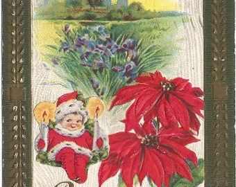 Adorable Elf dressed in Red Fur Lined Coat holding Candles Iris and Country Scene Red Poinsettia Vintage Postcard Christmas Greetings