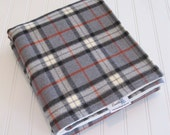 Baby Blanket/Stroller Blanket/Lap Blanket/Large Plaid Gray/Organic Sherpa Backing