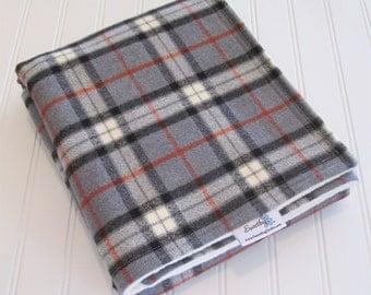 Baby Blanket/Stroller Blanket/Lap Blanket/Large Plaid Gray/Organic Sherpa Backing