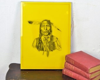 Vintage Native Indian Print Art on Wood Pop Art Indian Chief Bold Yellow Masculine Den Decor Gift for Dad Father Guy