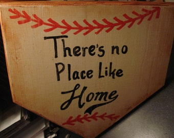 Home Plate  - There's No Place Like Home -  Hand painted wooden sign