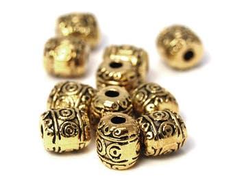 Antique Gold Tibetan Style Barrel Beads -50
