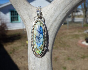 Monarch Opal Sterling Silver Necklace