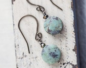 Turquoise Earrings, Natural Stone  Earrings, Semiprecious Earrings, Green Earrings, Small Earrings