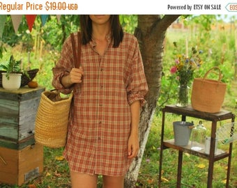 SALE Brown Red Checked Oversized Shirt Shirt Dress VINTAGE 80s plaid shirt with mandarin collar