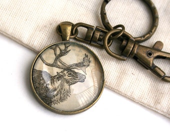 Rustic gift. Upcycled accessory. Vintage keychain. Deer art jewelry. Animal art gift. Antler art keychain. Woodland accessory, art lanyard.