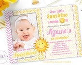 Sunshine Birthday Invitation, You Are My Sunshine Birthday Invitation, 1st Birthday Party Invitation, Little Sunshine Birthday Invitation