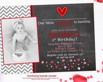 Chevron Chalkboard Valentine's Birthday Invitations - Digital File You Print
