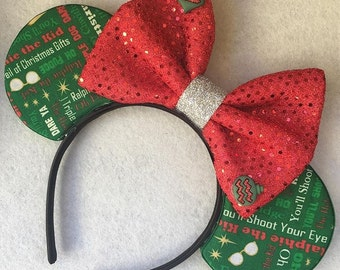 Christmas mouse ears - christmas mickey ears, a christmas story, you'll shoot your eye out, ralphie, holiday, gift, present
