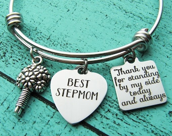 stepmom of the bride gift bracelet, stepmother gift, step mom wedding gift, stepmom of the groom, thank you for standing, best stepmom