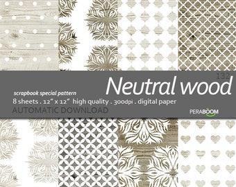 Neutral Wood Digital Paper, Wood Backdrop, Printable Wood Digital Background, Wood Scrapbook Paper 12x12, Wood Background, Instant Download