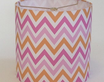 "Small Drum Lamp Shade in a Pink and Orange Chevron Fabric - 10"" X 10"" - Ready To Ship!"