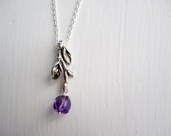 Twig Necklace with Amethyst, Branch Silver Necklace, Twig Necklace-style6