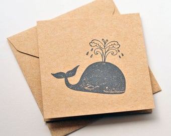 Whale Mini Cards // Set of 4 // Blank Cards // Enclosure Cards // Gift Tags // Love Note // Shower Favor // Scrapbooking