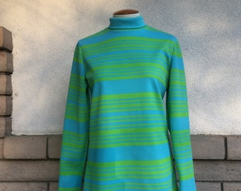 60s Striped Turtleneck Tunic Zip Back Size Medium