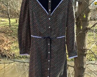70s Floral Lace and Velvet Prairie Dress / Boho Dress / Gunne Sax Look / hippie Floral Dress By Jc Penney Fashions