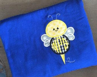monogrammed School/teacher bumble bee mascot  appliqued tshirt