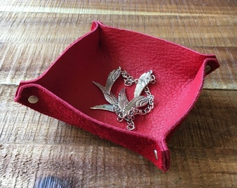 Ring Holder Dish - Red - Soft Leather Tray - Jewelry Storage - Leather Catchall