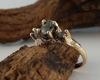Three Black Diamond Engagement Ring, Gold and Cruelty Free Rough Diamond, Three Stone Wedding Ring hand sculpted by Dawn Vertrees