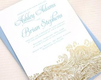 Gold Foil Waves Wedding Invitation, Gold Beach Wedding Invitations, Nautical Wedding Invites, Gold Wave Wedding Invite, Boho Beach Wedding