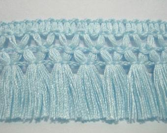 5 Yards Light Blue Cotton Tassel Trim, Blue Trim, Blue tassel fringe, wholesale trim, trim lot, Blue tassel trim, Blue chainette fringe,blue