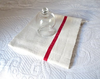 French cotton towel - Red stripe tea towel - French kitchen cloth - French housewares - Cottage chic