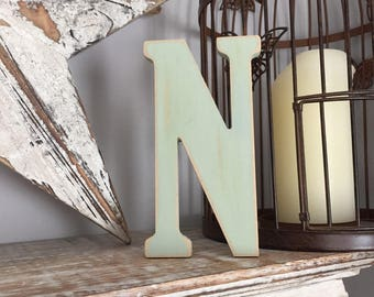 Wooden Wall Letter 'N'  - Bernard Style Font, various sizes, colours and finishes available, initial, monogram, 9mm thick