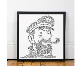 Captain Haddock. Tintin best friend portrait with his temper indide. Open Edition print - black and white