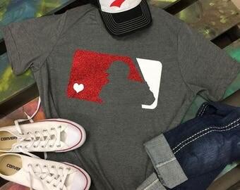 Baseball team colors glitter t-shirt tee soft shirt