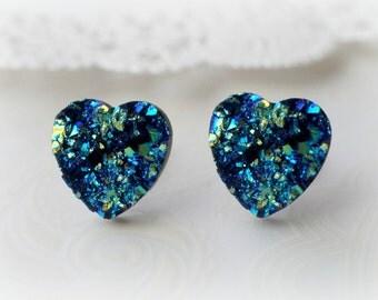 Blue Heart Faux Druzy Stud Earrings