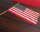"Vintage 48 Star American Flag Vintage Parade Flag  15"" x 23"" Americana Office or Man Cave Decor"
