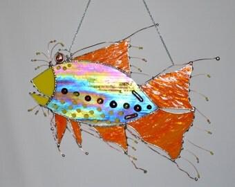 Fish - Rainbow - Whimsical - Crazy - Rainbow Colors - Colorful - Fish Art - Stained Glass - Salt Life - Condo - Ocean - Decor - Custom - Art