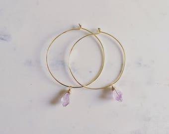 Amethyst Hoop Earrings